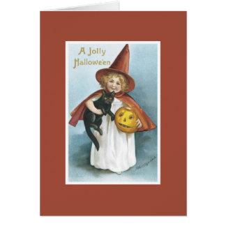 Vintage Hexe-schwarze Katzen-Halloween-Karte Karte