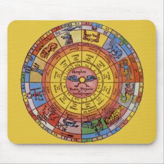 Vintage himmlische Astrologie, antikes Tierkreis-R Mauspad