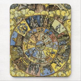 Vintage himmlische Astrologie Tierkreis-Rad 1555 Mauspad