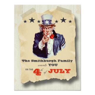 Vintage Hipster-Unabhängigkeitstag-Feier laden ein 10,8 X 14 Cm Einladungskarte