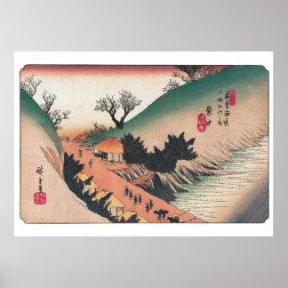 Vintage Hiroshige Landschaftsdrucke Poster