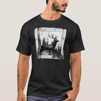 Vintage Hirsch-Rotwild-Schwarz-weißes Tier T-Shirt