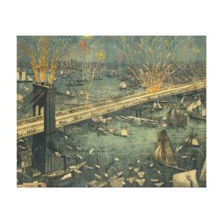 Vintage historische Brücken-Öffnung New York Leinwanddruck