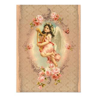 Vintage historische Rosenverzierung des 14 X 19,5 Cm Einladungskarte