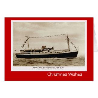 Vintage historische Schiffe, königliche Post Grußkarte