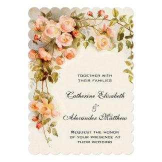 Vintage Hochzeit, antike rosa Rosen-Blumen mit Personalisierte Ankündigungskarte