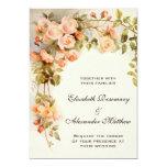 Vintage Hochzeit, antike rosa Rosen-Blumen mit Ankündigungskarte