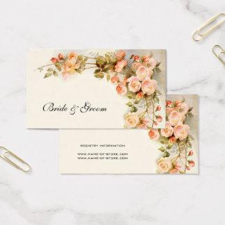 Vintage Hochzeit, antike rosa Rosen-Blumen mit Visitenkarte
