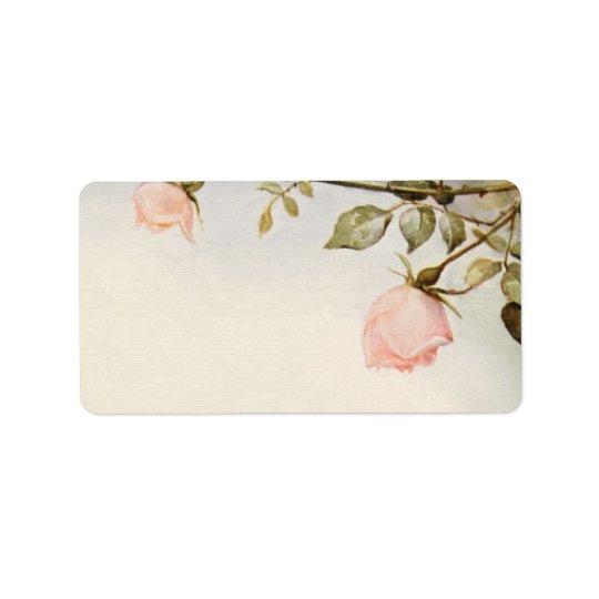 Vintage Hochzeit, antike rosa Rosen-Garten-Blumen Adressaufkleber