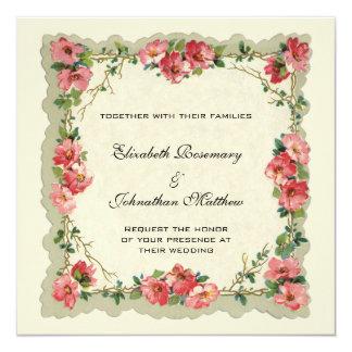 Vintage Hochzeit, BlumenBlumen-Grenzrosa-Rosen Individuelle Einladung