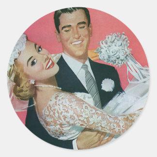Vintage Hochzeit Bräutigam-tragende Braut Jungve Runde Aufkleber