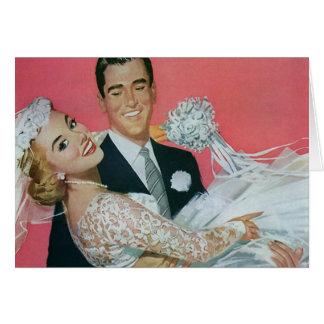 Vintage Hochzeit, Bräutigam-tragende Braut, Grußkarte