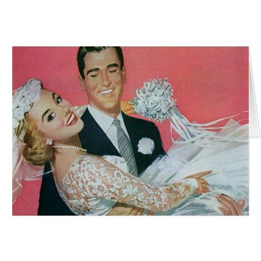 Vintage Hochzeit, Bräutigam-tragende Braut, Karten