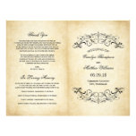Vintage Hochzeit elegantes programmiert | blühen Vollfarbige Flyer