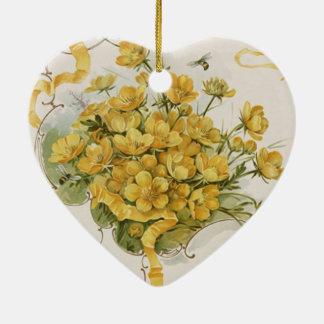 Vintage Hochzeit, gelbe Blumen-Blumenbienen-Wiese Keramik Ornament