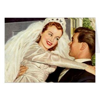 Vintage Hochzeit, glückliche Braut und Karte