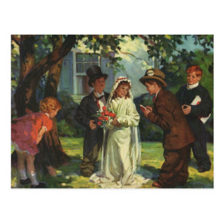 Vintage Hochzeit, Kinder täuschen Braut und Postkarte