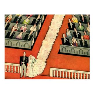 Vintage Hochzeit, Kunst-Deko-Braut und Postkarte