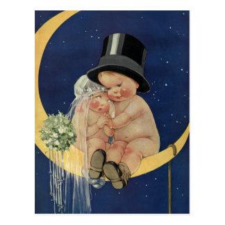 Vintage Hochzeit, niedliche Braut und Bräutigam Postkarte