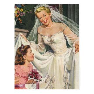 Vintage Hochzeit, Retro Braut mit Blumen-Mädchen Postkarte