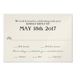 Vintage Hochzeit UAWG-Karte mit MAHLZEIT-Auswahl 8,9 X 12,7 Cm Einladungskarte