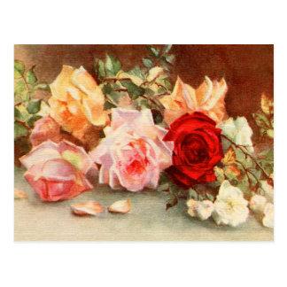 Vintage Hochzeits-Antiken-Rosen-Blumen Save the Postkarte