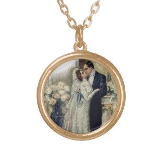Vintage Hochzeits-Bell-Braut und -bräutigam Halskette Mit Rundem Anhänger