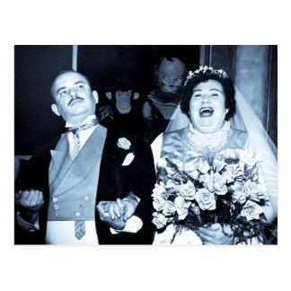 Vintage Hochzeits-Bild-glückliche Paar-lustige