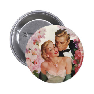 Vintage Hochzeits-Braut-Bräutigam-Jungvermählten-B Anstecknadelbuttons