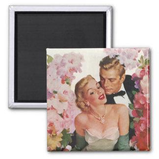 Vintage Hochzeits-Braut-Bräutigam-Jungvermählten-B Magnets