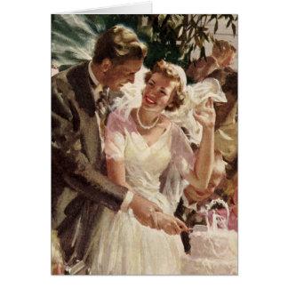 Vintage Hochzeits-Braut-Bräutigam-Jungvermählten Karte