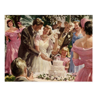 Vintage Hochzeits-Braut-Bräutigam-Jungvermählten Postkarte