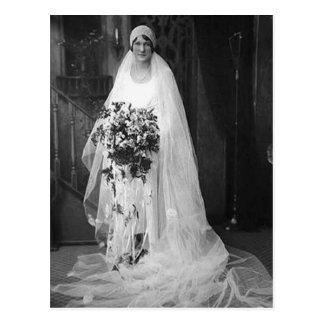 Vintage Hochzeits-Braut Postkarte