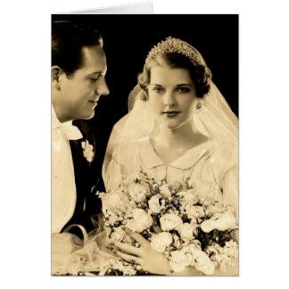 Vintage Hochzeits-Braut und Bräutigam Karte