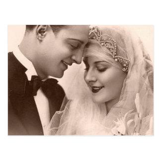 Vintage Hochzeits-Braut und Bräutigam Postkarten