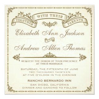 Vintage Hochzeits-Einladung Quadratische 13,3 Cm Einladungskarte