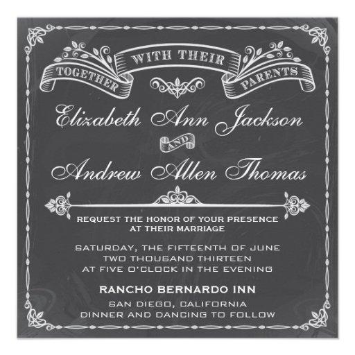 Vintage Hochzeits-Einladung