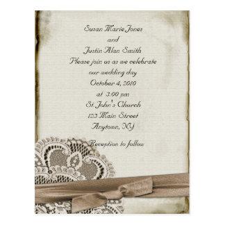 Vintage Hochzeits-Einladung Postkarte