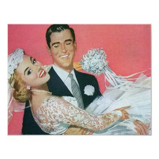 Vintage Hochzeits-Jungvermählten, 10,8 X 14 Cm Einladungskarte