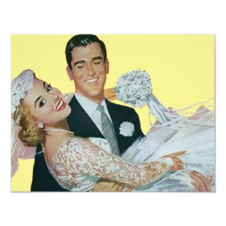 Vintage Hochzeits-Jungvermählten, glückliche Braut 10,8 X 14 Cm Einladungskarte