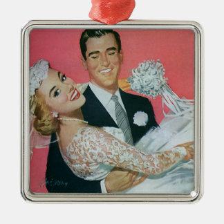 Vintage Hochzeits-Jungvermählten, Silbernes Ornament