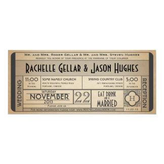 Vintage Hochzeits-Karten-Einladung IV -- Ära 40s 10,2 X 23,5 Cm Einladungskarte