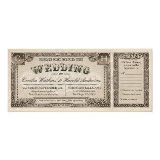 Vintage Hochzeits-Karten mit UAWG Karten v.1 10,2 X 23,5 Cm Einladungskarte
