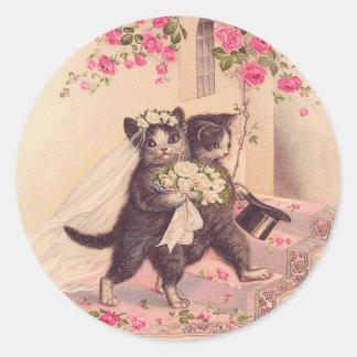 Vintage Hochzeits-Katzen Braut und Bräutigam Runder Aufkleber