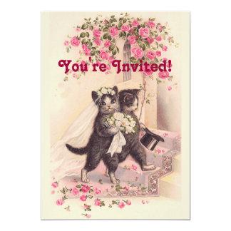 Vintage Hochzeits-Katzen-weiche rosa Einladung