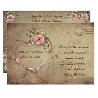 Vintage Hochzeits-Rosen-Postkarte Karte