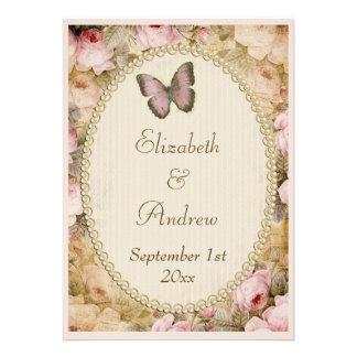 Vintage Hochzeits-Rosen Schmetterling Musiknoten Personalisierte Einladungskarte