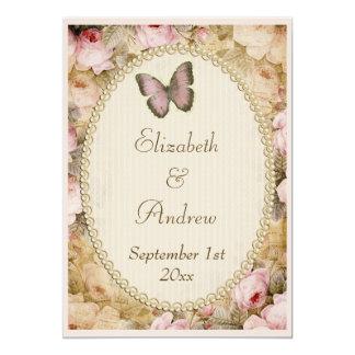 Vintage Hochzeits-Rosen Schmetterling, Musiknoten Personalisierte Einladungskarte