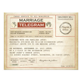 Vintage HOCHZEITS-Telegramme EINLADUNGEN