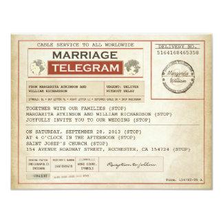 Vintage HOCHZEITS-Telegramme EINLADUNGEN 10,8 X 14 Cm Einladungskarte